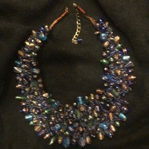 BLUES/PURPLES STATEMENT NECKLACE